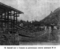 76. Висячий мост в Сычуани из растительных канатов диаметром 20 см