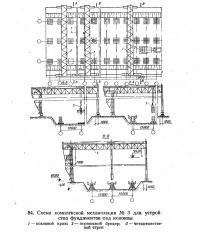 84. Схема комплексной механизации №3 для устройства фундаментов под колонны