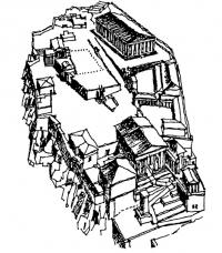 Афины Акрополь. Аксонометрия. Схема. Реконструкция по Стивенсону
