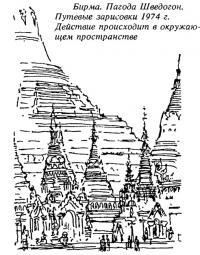 Бирма. Пагода Шведогон. Путевые зарисовки 1974 г.