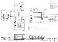 Чертежи плана и разрез по четырем зданиям