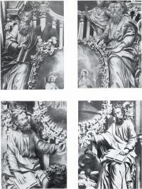 Деревянные фигуры евангелистов с царских врат иконостаса собора Троице-Гледенского монастыря