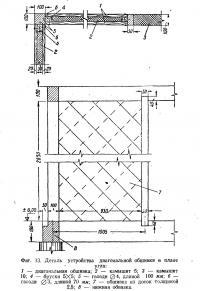 Фиг. 13. Деталь устройства диагональной обшивки в плане угла