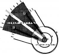 Идея развития плана Москвы. Архитектор Н. Ладовский, 1930