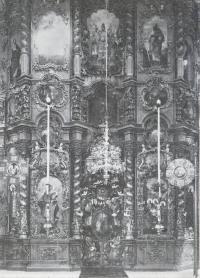 Иконостас собора Троице-Гледенского монастыря. Выполнен устюжскими мастерами в середине XVII в.