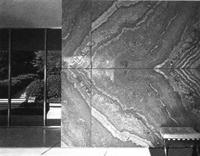 Интерьер барселонского павильона с комплектом мебели Барселона. Мис ван дер Роэ