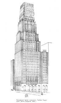 Конкурсный проект чикагского Трибюн Тауэр, архит. Элиэл Сааринен, 1922 г.