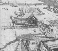 Котлован открытого способа работ, закрепленный анкерами на станции «Южная» Серпуховского радиуса