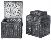 Лубяные ларцы, украшенные просечным железом снаружи и росписью внутри