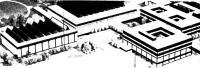 Макет спортивного комплекса со спортзалом, центральным сооружением, учебным корпусом и малыми залами