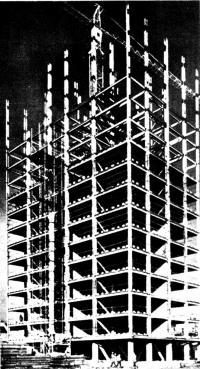 Монтаж стального каркаса, комплексных перекрытий и панелей наружных стен