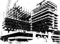 Монтаж стальных конструкций и бетонирование плит перекрытия