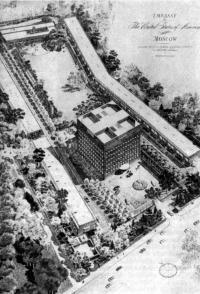 Москва. Комплекс посольства США. Проект 1976 г. Перспектива. Рисунок Димиз