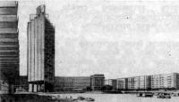 Москва. Площадь Курского вокзала. Проект. Перспектива с высотной гостиницей