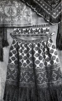 Народное «браное» узорное тканье (концы полотенец, пояса, косынка, фартук)