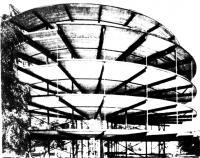 Несущая конструкция с радиальными балками, плитами перекрытий и подвесками