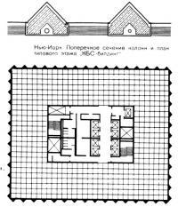 Нью-Йорк. Поперечное сечение колонн и план типового этажа КБС-биллинг