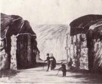Остатки ворот в валах города Владимира. Рисунок К. А. Лохвицкого. Раскопки 1832 г.