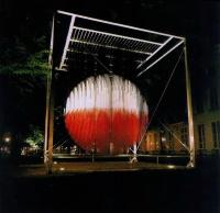 Освещение скульптуры Сфера Лютеция на выставке в честь 750-летия Гааги