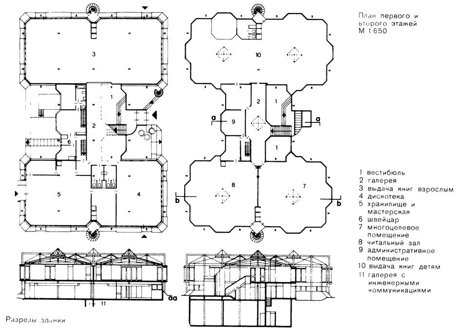 План этажей и разрезы здания