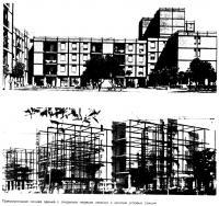 Прямоугольная секция здания с открытым первым этажом и монтаж угловых секций