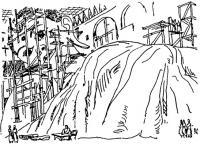 Рангун, Бирма. Изваяние Будды. Путевые зарисовки 1974 г.