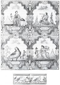 Расписные многоцветные сюжетные изразцы середины XVIII в.