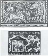 Расписные прялки XVII в. Фрагменты