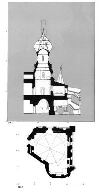 Разрез и план нижнего яруса придела Григория просветителя Армении