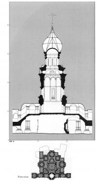 Разрез и план-схема придела Входа в Иерусалим
