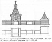 Рис. 1. План и разрез проезжей башни и ограды Николо-Карельского монастыря
