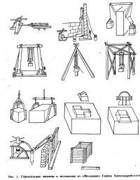 Рис. 1. Строительные машины и механизмы из «Механики» Герона Александрийского