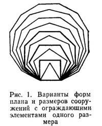 Рис. 1. Варианты форм плана и размеров сооружений с ограждающими элементами