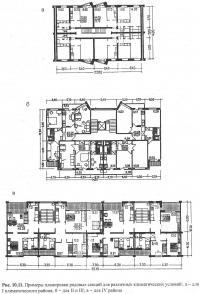 Рис. 10.11. Примеры планировки рядовых секций для различных условий