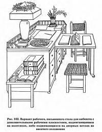 Рис. 102. Вариант рабочего письменного стола для кабинета