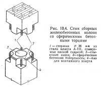 Рис. 10.4. Стык сборных железобетонных колони со сферическими бетонными торцами