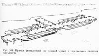 Рис. 106. Причал, сооруженный по типовой схеме с применением понтонов «Де-Лонга»