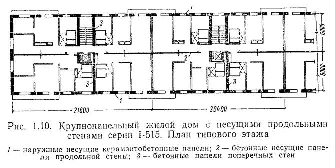 Рис. 1.10. крупнопанельный жилой дом серии i-515. план типов.
