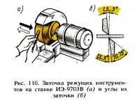 Рис. 110. Заточка режущих инструментов на станке ИЭ-9703В и углы их заточки