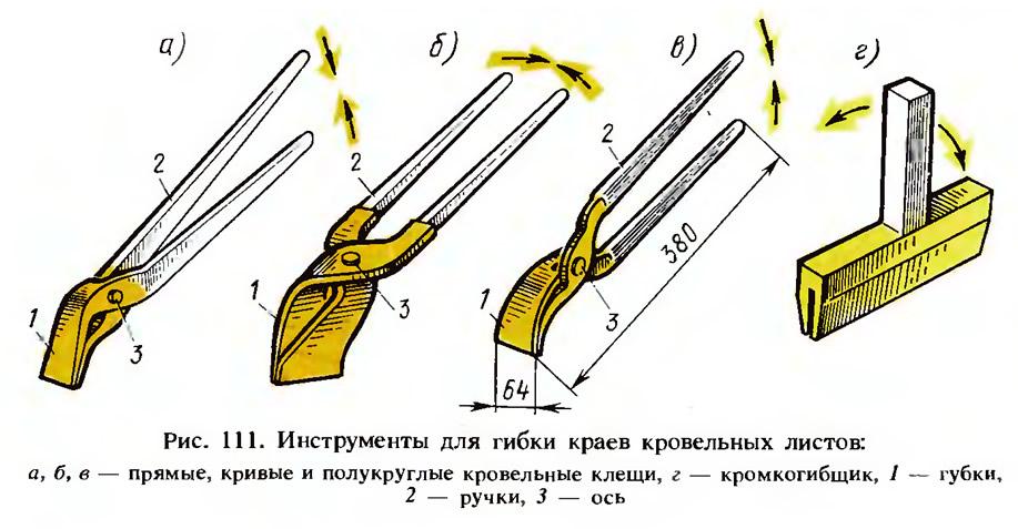 Рис. 111. Инструменты для гибки краев кровельных листов
