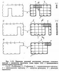 Рис. 1.13. Примеры решений внутренних несущих стеновых панелей с дверными проемами