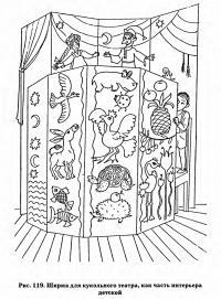 Рис. 119. Ширма для кукольного театра, как часть интерьера детской