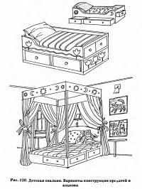 Рис. 120. Детская спальня. Варианты конструкции кроватей и алькова