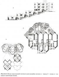 Рис. 12.14. Жилые дома высокой плотности для застройки склонов
