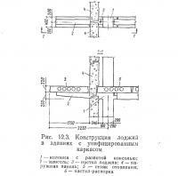 Рис. 12.3. Конструкция лоджий в зданиях с унифицированным каркасом