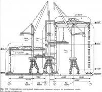 Рис. 12.3. Распределение конструкций поперечника главного корпуса по монтажным зонам