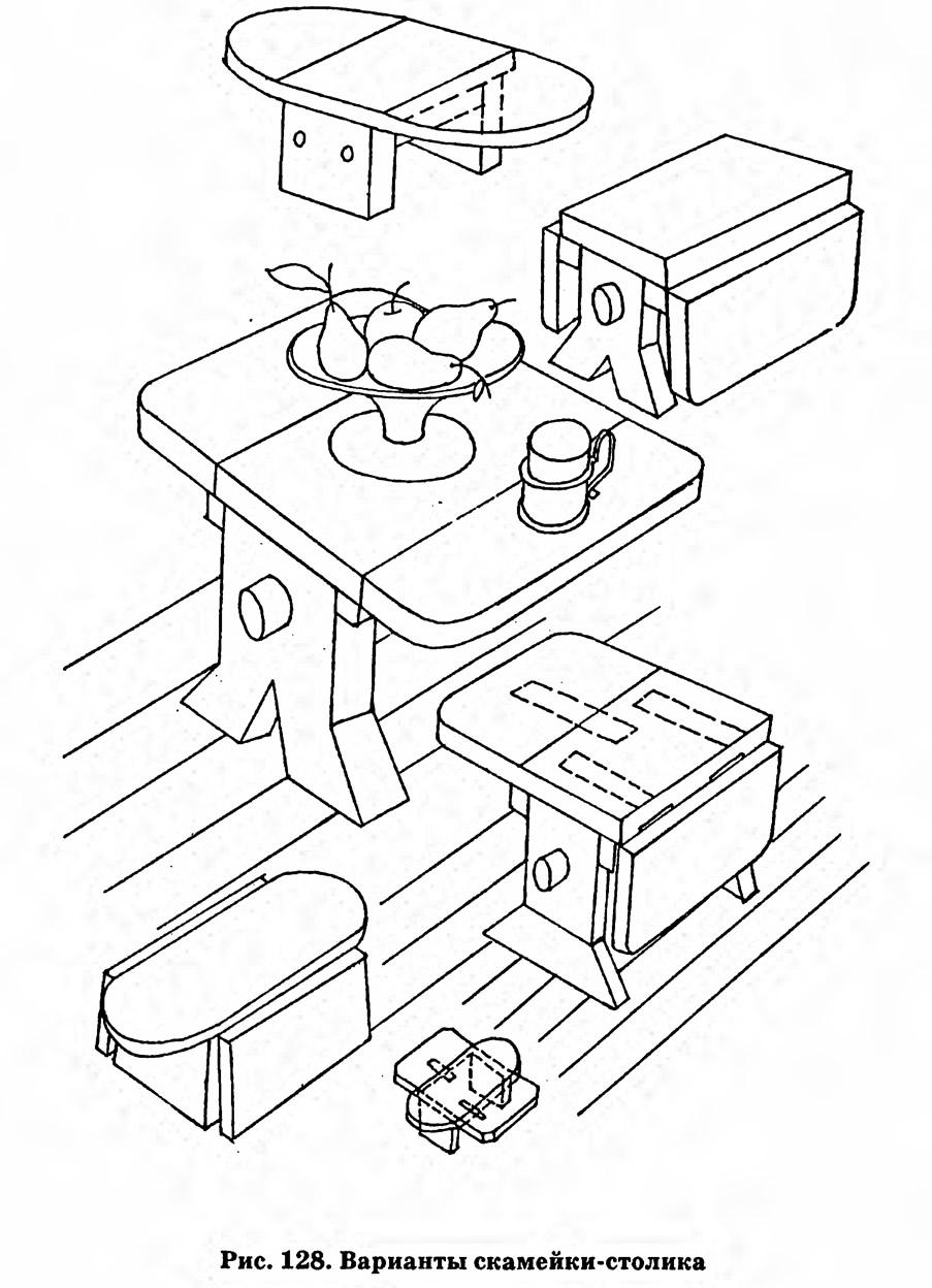 Рис. 128. Варианты скамейки-столика