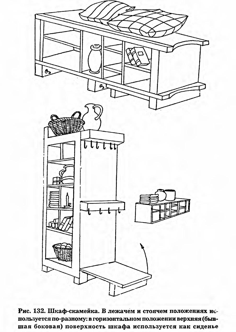 Рис. 132. Шкаф-скамейка
