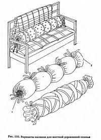 Рис. 135. Варианты валиков для жесткой деревянной скамьи