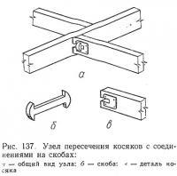 Рис. 137. Узел пересечения косяков с соединениями на скобах